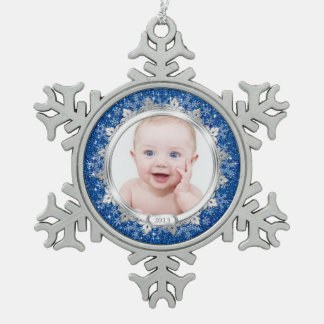 Blue Silver Photo Baby's First Christmas (Xmas) Snowflake Pewter Christmas Ornament