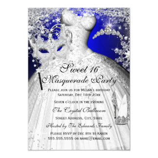 Blue & Silver Princess Masquerade Sweet 16 Invite