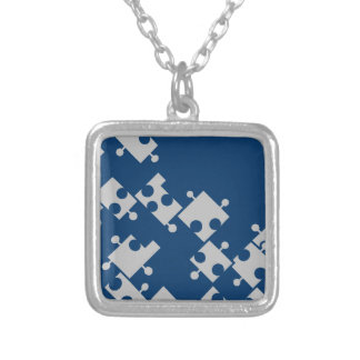Blue & Silver Puzzle Necklace - by Fern Savannah