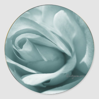 Blue Silver Rose Envelope Wedding Seal Classic Round Sticker
