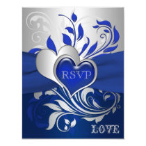 Blue, Silver Scrolls, Hearts RSVP Card