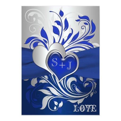 Blue, Silver Scrolls, Hearts Wedding Invitation | Zazzle