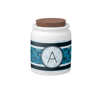 Blue Silver Sewing Pattern with Monogram Candy Jar