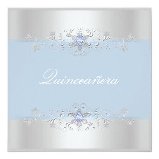 Blue & Silver Snow Gem Quinceanera Invite