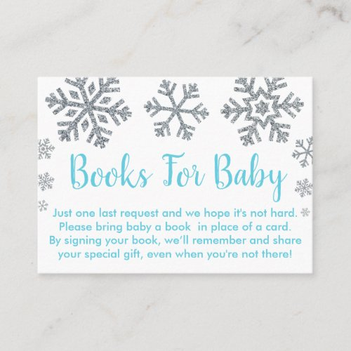 Blue &amp&#x3B; Silver Snowflake Baby Book Request Cards