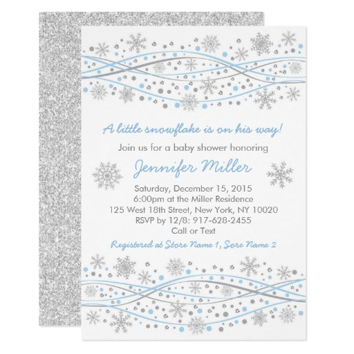 Blue & Silver Snowflake Baby Shower Card