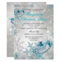 Blue Silver Snowflake Masquerade Christmas Party Invitation