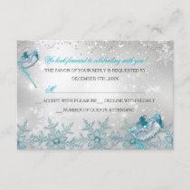 Blue Silver Snowflake Masquerade Christmas RSVP
