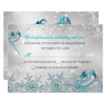 Blue Silver Snowflake Masquerade Christmas RSVP Invitation