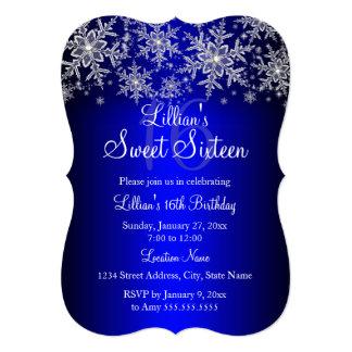 Blue Silver Snowflake Sweet 16 Invitation