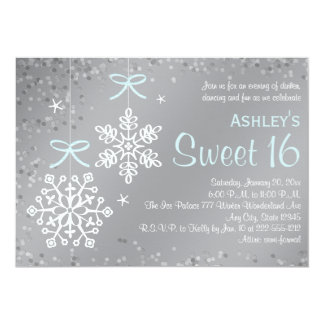 "Blue Silver Snowflake Sweet Sixteen Invitations 5"" X 7"" Invitation Card"