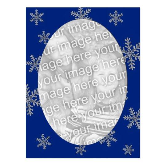 Blue Silver Snowflake Template Postcard