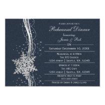 blue silver Snowflake Wedding Rehearsal Invites