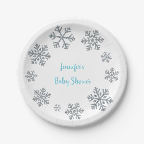 Blue &amp&#x3B; Silver Snowflake Winter Baby Shower Paper Plate