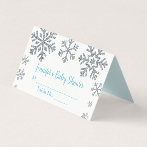 Blue &amp&#x3B; Silver Snowflake Winter Baby Shower Place Card
