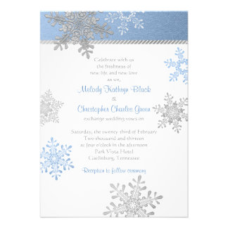 Blue Silver Snowflake Winter Wedding Invitation
