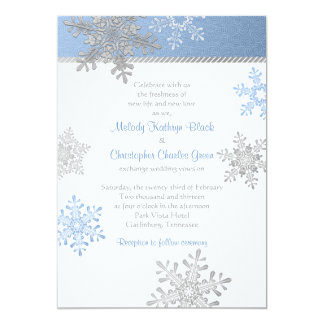 Blue Silver Snowflake Winter Wedding Invitation