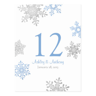 Blue Silver Snowflake Winter Wedding Table Card