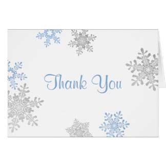 Blue Silver Snowflake Winter Wedding Thank You Stationery Note Card