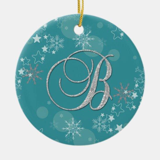 Blue Silver Snowflakes Stars Initial B Christmas Ceramic Ornament