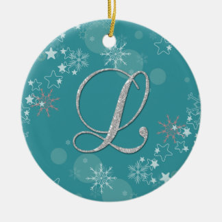 Blue Silver Snowflakes Stars Initial L Christmas Double-Sided Ceramic Round Christmas Ornament