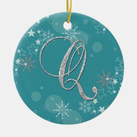 Blue Silver Snowflakes Stars Initial Q Christmas Ceramic Ornament