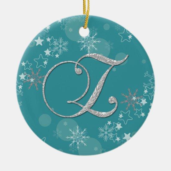 Blue Silver Snowflakes Stars Initial Z Christmas O Ceramic Ornament
