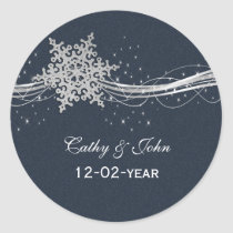 Blue Silver Snowflakes wedding favor stickers
