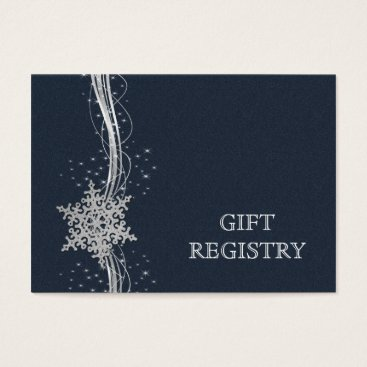Blue Silver Snowflakes wedding gift registry Business Card