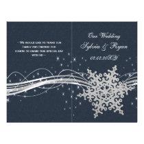 Blue Silver Snowflakes wedding programs folded
