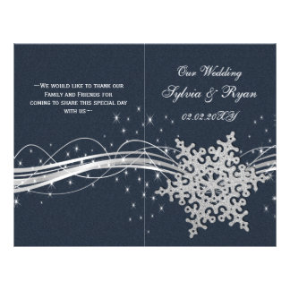 Blue Silver Snowflakes wedding programs folded Personalized Flyer
