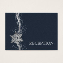 Blue Silver Snowflakes wedding reception invite