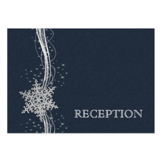 Blue Silver Snowflakes wedding reception invite Business Card Template