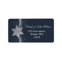 Blue Silver Snowflakes Winter address label