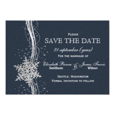 Blue Silver Snowflakes Winter  save the date Card