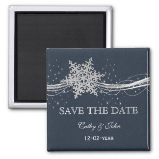 Blue Silver Snowflakes Winter save the Date Magnet