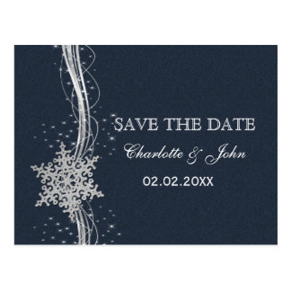Blue Silver Snowflakes Winter save the Date Postcard