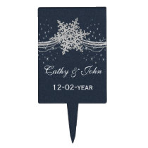 Blue Silver Snowflakes Winter wedding  cake picks