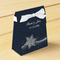 Blue Silver Snowflakes Winter wedding favor box