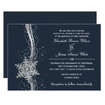 Blue Silver Snowflakes Winter wedding invitations