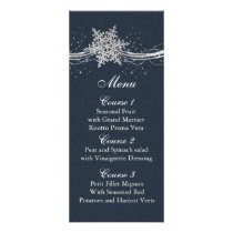 Blue Silver Snowflakes Winter wedding menu cards
