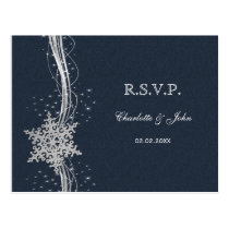 Blue Silver Snowflakes Winter wedding RSVP Postcard