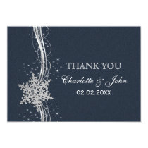 Blue Silver Snowflakes Winter  wedding Thank You Card