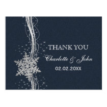 Blue Silver Snowflakes Winter wedding Thank You Postcard