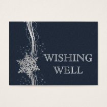 Blue Silver Snowflakes Winter wedding wishing well Business Card