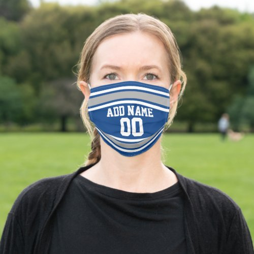 Blue  Silver Sports Jersey Custom Name Number Cloth Face Mask