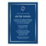 Blue Silver Star of David Bar Mitzvah Invitations