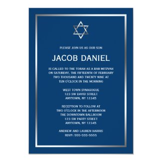 Blue Silver Star of David Bar Mitzvah Invitations