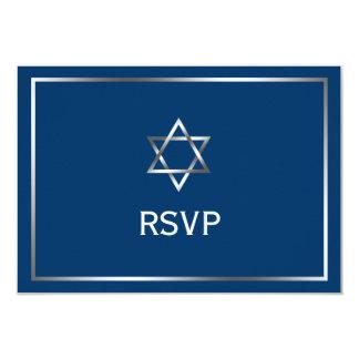 Blue Silver Star of David Bar Mitzvah RSVP 3.5x5 Paper Invitation Card