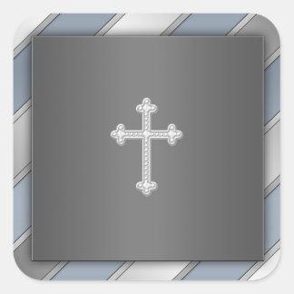 Blue Silver Stripe Cross Christian Envelope Seal Square Sticker